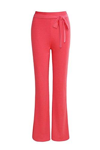 Moda Autunno Grazioso Rosered Elegante Larghi Lunga Primaverile Waist Monocromo Pantaloni Casual Cintura High Donna Colpo Pantalone Inclusa Libero Tempo nqwWYFA4t