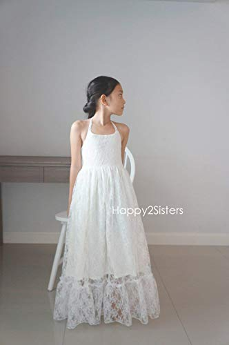 568cc7f458 Boho girls dress Lace flower girl dress Beach girl dress junior bridesmaid  dresses
