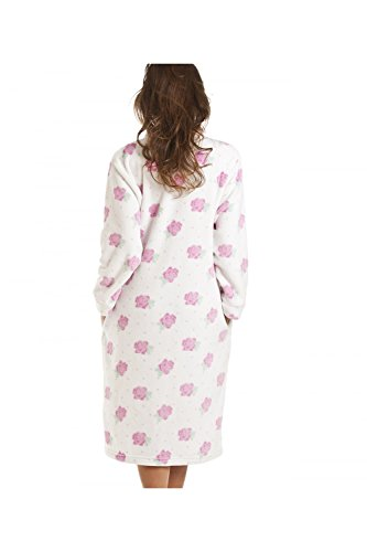 Bata con botones - Estampado de rosas - Crema BLANCO