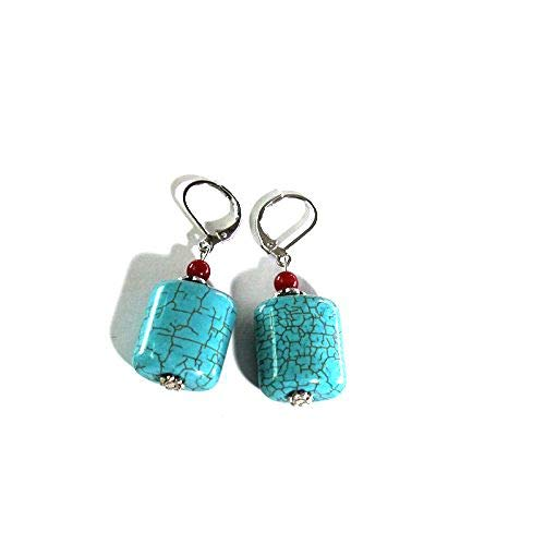 Handmade Silver Plated Natural Turquoise Leverback Earrings ()