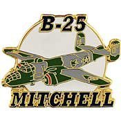 [Metal Lapel Pin - Aircraft Pin - WWII Air Force/ Navy Bomber - B-25 Mitchell 1-3/4
