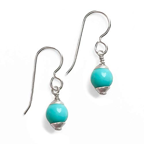 Medium 6mm Mexican Turquoise Drop Earrings - Bohemian Jewelry ()