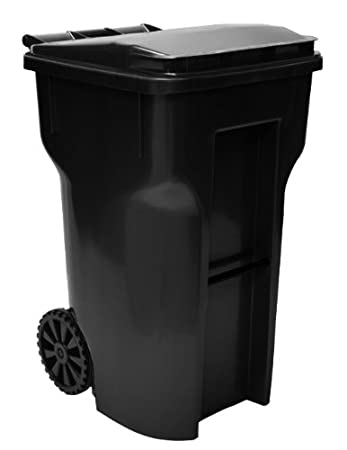 64 gallon black heavy duty outdoor trash can with wheels and attached lid - Outdoor Trash Cans