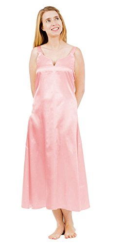- Women's Classic Satin Camisole/Chemise, Long NightgownXlargePink