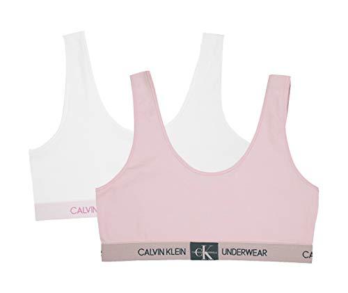 Boxer Girl Boxer - Calvin Klein  Girl's Modern Cotton Bralette Underwear, Crystal Pink, Classic White, Medium, M,Little Girls