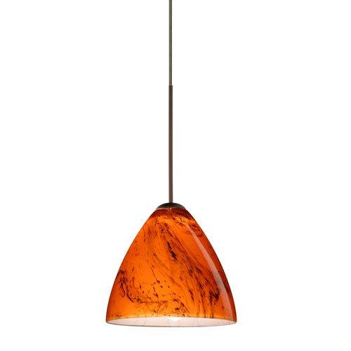 Habanero Pendant Mini Bronze - Besa Lighting 1XT-1779HB-BR Mia Pendant with Habanero Glass, Bronze Finish