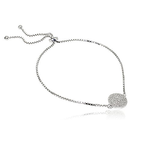 LOVVE Sterling Silver Cubic Zirconia Round Pave Circle of Life Charm Adjustable Bolo Bracelet