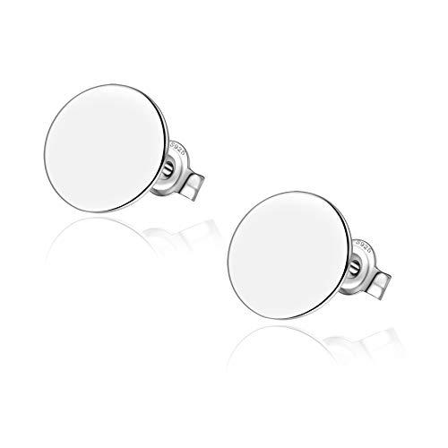 Minimalist Dot Circle Earrings Sterling Silver Flat Disc Stud Earrings 11mm Men Women