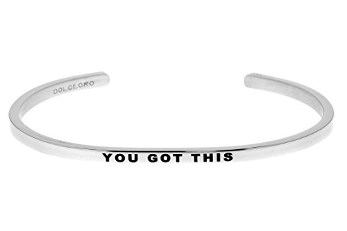 Cuff 3mm (Dolceoro Mantra Bracelet Phrase: YOU GOT THIS - 316L Surgical Steel Dainty 3mm Cuff Band)