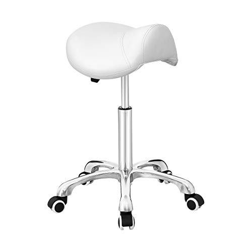 Antlu Saddle Stool Rolling Chair for Office Massage Salon Kitchen Spa Drafting,Adjustable Hydraulic with Wheels (White)