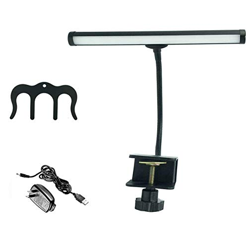 LED Piano Lamp Flexible Gooseneck Piano Lights for Grand Piano or Baby Grand Piano 12 Inch Shade with Metal Sheet Music Holder (Black)