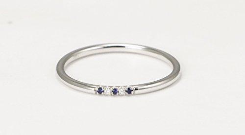Sapphire Stacking Ring - 14k White Gold Diamond and Sapphire Wedding Band, Diamond and Sapphire Stacking Ring