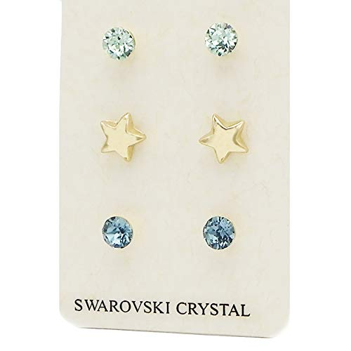 (Rosemarie Collections Women's 3 Pairs Pretty 7mm Stud Earrings Made with Swarovski Crystals (Gold Star))
