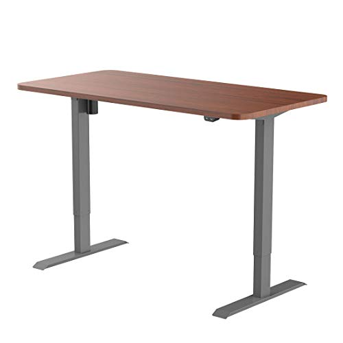 Flexispot EC1S-R4830N Electric Height Adjustable Desk Sit Stand Desk Base Home Office Table Stand up Desk(Gray Frame + 48 in Mahogany Top) ()