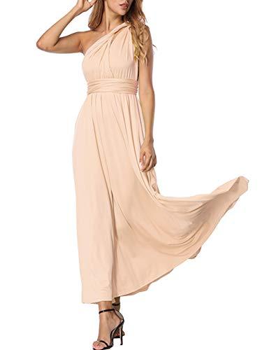 de Beige Longitud Máxima Mujer Convertibles Fiesta Vestido Tirantes Falda Multi Manera Cóctel Noche FeelinGirl EqAOx