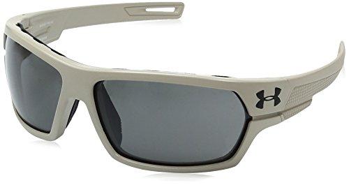 Under Armour UA Battlewrap Rectangular Sunglasses, UA Battlewrap (Ansi) Satin Sand / Black Frame / Gray Lens, 66 - Sunglasses Z87.1