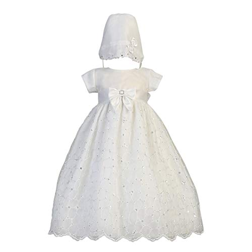 Lito Baby Girls White Sequin Embroidered Organza Gown Christening Set 3-6M