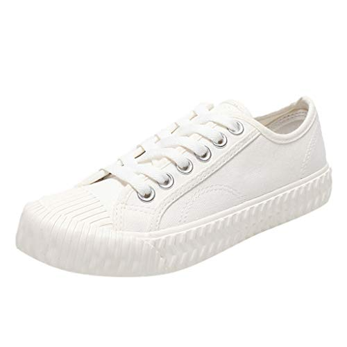 Meigeanfang Teen Girls Canvas Shoes Casual Soild Lace-up Flat Womens Wild Leisure Shoes(White,37)