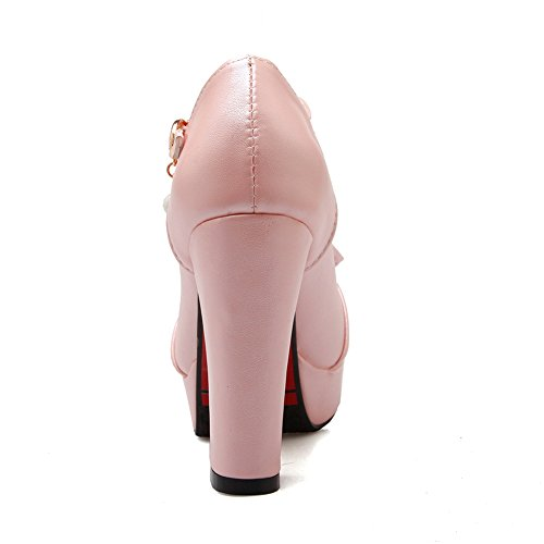 Lucksender strap Pink Chunky Round Toe with Shoes Womens Bowknot Heels T Platform Pumps rrXfq