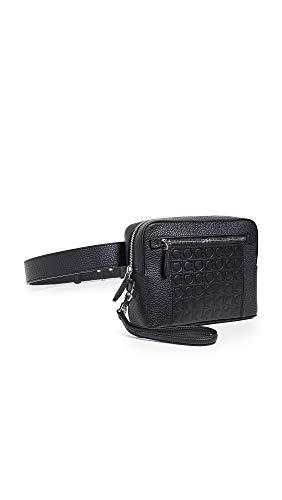 Salvatore Ferragamo Men's Firenze Embossed Gancini Belt Bag, Nero Pebble, One Size