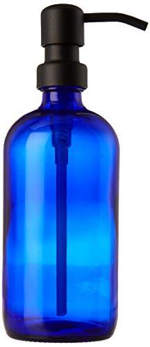 Industrial Rewind 16oz Cobalt Blue Glass Refillable Body Lotion Dispenser with Black Metal Pump Dispenser/Liquid Hand Soap Dispenser ()