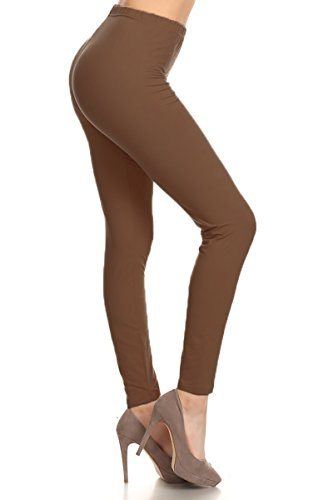 SXL128-Mocha Basic Solid Leggings, Plus Size ()