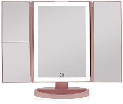 Beautyworks Backlit Makeup Vanity Mirror 36 LED Lights Touch-Screen Light Control, Tri-Fold 1 2 3X Magnification, Portable High-Definition Clarity Cosmetic Light Up Magnifying Mirror Rose Gold