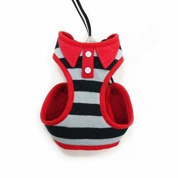 (EasyGo Polo Stripe Dog Harness by Dogo - Black)