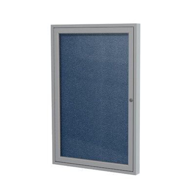 1 Door Outdoor Enclosed Bulletin Board Size: 2' H x 1'6'' W, Frame Finish: Satin, Surface Color: Navy by Ghent