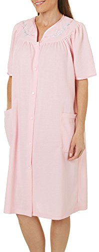 Jasmine Rose Womens Snap Button Floral Trim Duster Robe Medium Pink (Trim Snap)