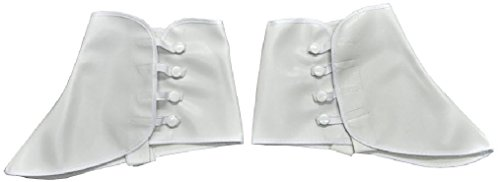 OvedcRay 1920S Roaring 20'S White Vinyl Spats Gangster Costume Shoe Covers Spats W/ Snap