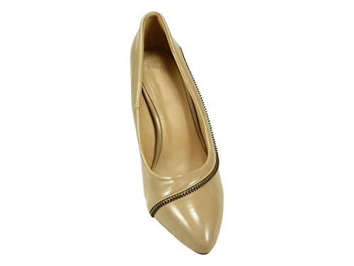 Con zapato de tacón y letras, zapatos de tacón para mujer de alto compensado con orificio, color marrón Beige - marrón