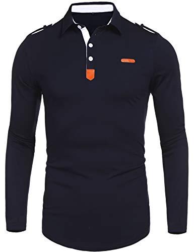 Daupanzees Men's Polo Shirts Solid Stitc...