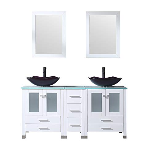 Unit Vanity Oak Bathroom (Walcut 60Inch White Bathroom Vanity Cabinet with Double Artistic Glass Vessel Sink Combo Set (Purple), 60