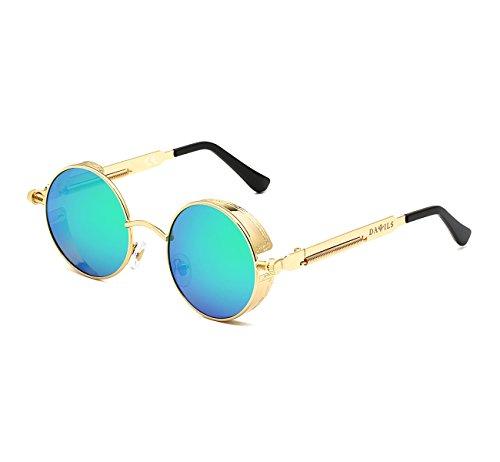 Vert Lunettes UV de Soleil DAWILS Soleil Lennon 1 John Lunettes Classique Rétro Rondes Métal Or de Femmes 400 en Polarisées F4AUxPn