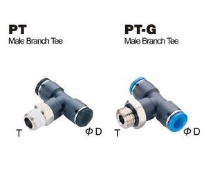 PneumaticPlus PT-3/8-N1 Push to Connect Tube Fitting, Male Branch Tee - 3/8' Tube OD x 1/8' NPT Thread Male Branch Tee - 3/8 Tube OD x 1/8 NPT Thread