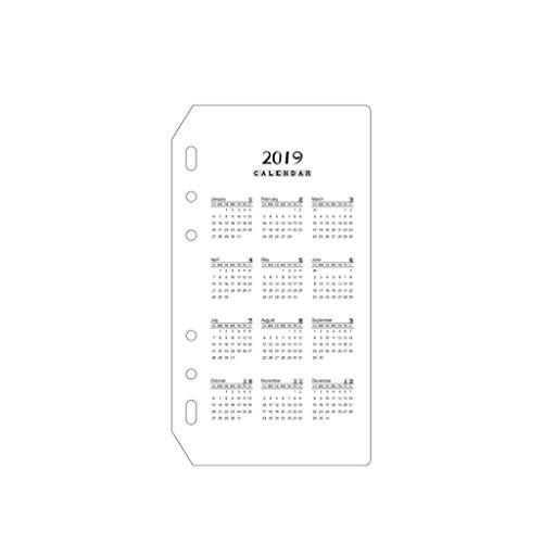 2019 Calendar Handbook Loose-Leaf Notebook Month Index Page Separator Page PVC Mat Scrub Standard 6 Holes (Size : A6)