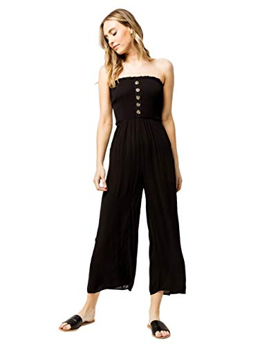 (SKY AND SPARROW Smocked Button Front Black Tube Jumpsuit, Black, Small)
