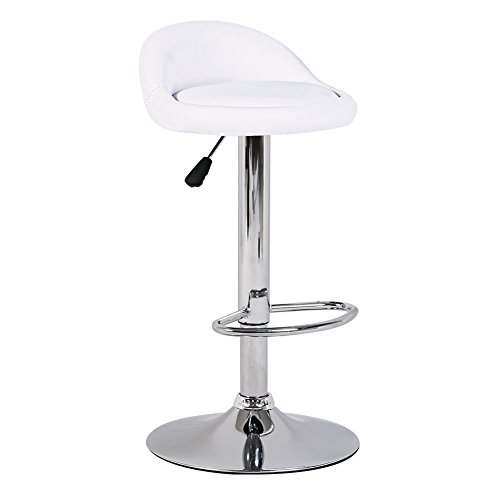 UpdatedVertion Set of 2 BIFMA standard PU Leather Hydraulic swivel Gas lift bar stools 30inches with back 350 lbs Weight Capacity White Chairs Gas Lift Pneumatic 360 Degree Swivel Spa Bar Tattoo Salon - 360 Degree Foot Ring