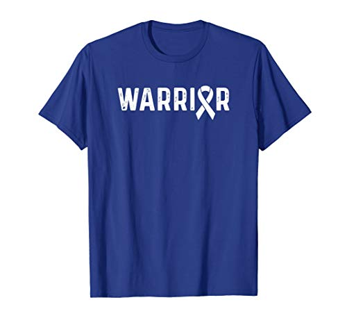 (Colorectal Cancer Awareness Products Blue Ribbon Warrior T-Shirt)