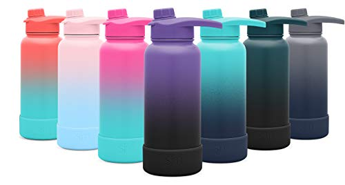 Simple Modern 22oz Summit Water Bottle with Chug Lid & Protective Boot - Hydro Vacuum Insulated Flask 18/8 Stainless Steel Powder Coated Ombre: Violet Sky