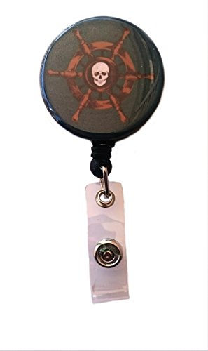 Pirate Ship Wheel Retractable Badge Reel ID Badge Holder