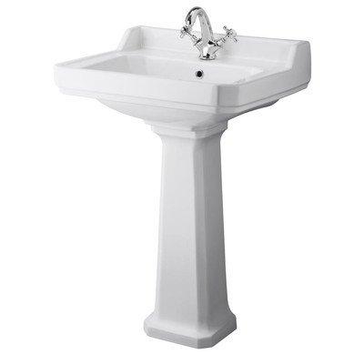 NCS882A - Carlton 600mm Basin 1TH / NCS883 - Carlton Full Pedestal Pebble Grey