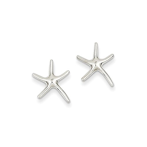 14K White Gold Dancing Starfish Post (14k Gold Starfish Earrings)