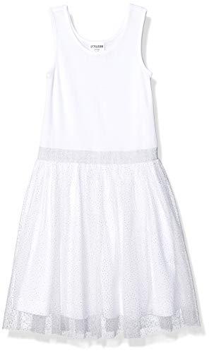 Amazon Brand - Spotted Zebra Girl's Tutu Tank Dress, White Sparkle, Large (10)