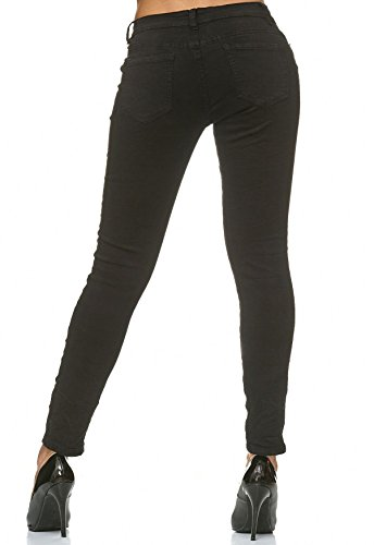 Nero Effetto Donna Jeans Rivetti Strass D2224 Pantaloni Hosen Denim Arizonashopping ZSqYzy
