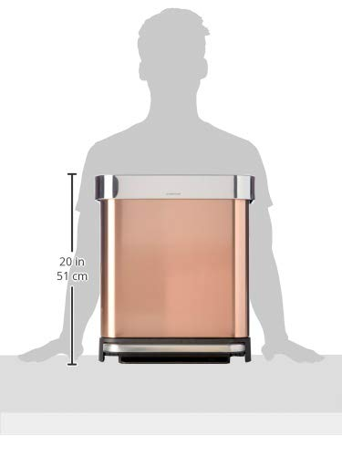 simplehuman 30 Liter Rectangular Hands-Free Kitchen Step Trash Can with Soft-Close Lid, Rose Gold Stainless Steel