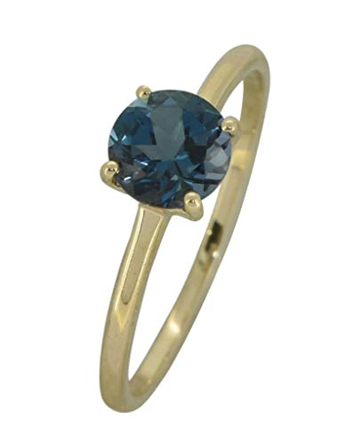 YoTreasure 1.10 Ct.Round London Blue Topaz Solid 10K Yellow Gold Solitaire Ring (Blue Topaz Ring Size 10)