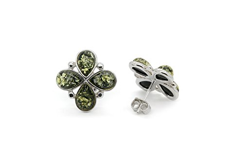 925 Sterling Silver Flower Stud Amber Earrings with Genuine Natural Baltic Green Amber.
