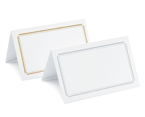 Plain & Double Border Place Cards - Package of 50 - Double Border Silver